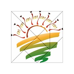 Sunset Spring Graphic Red Gold Orange Green Acrylic Tangram Puzzle (4  x 4 )