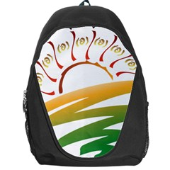 Sunset Spring Graphic Red Gold Orange Green Backpack Bag
