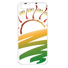 Sunset Spring Graphic Red Gold Orange Green Apple iPhone 5 Seamless Case (White)
