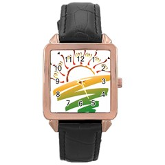 Sunset Spring Graphic Red Gold Orange Green Rose Gold Leather Watch