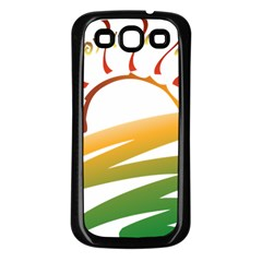 Sunset Spring Graphic Red Gold Orange Green Samsung Galaxy S3 Back Case (Black)