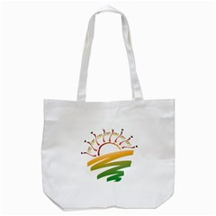 Sunset Spring Graphic Red Gold Orange Green Tote Bag (White)