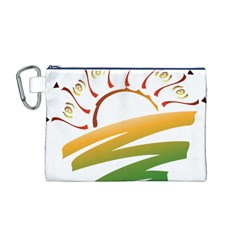 Sunset Spring Graphic Red Gold Orange Green Canvas Cosmetic Bag (M)