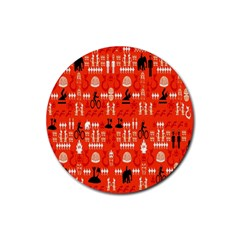Traditional Wayang Rubber Round Coaster (4 Pack)