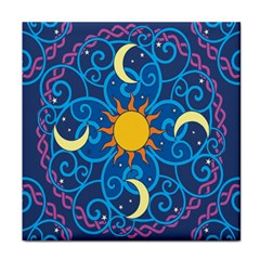 Sun Moon Star Space Purple Pink Blue Yellow Wave Tile Coasters