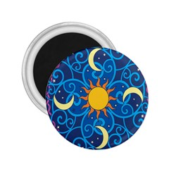 Sun Moon Star Space Purple Pink Blue Yellow Wave 2.25  Magnets