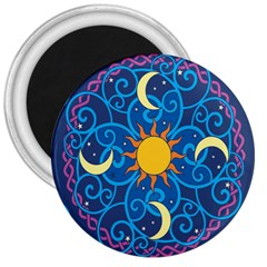 Sun Moon Star Space Purple Pink Blue Yellow Wave 3  Magnets
