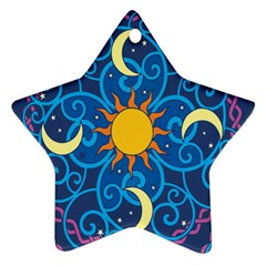 Sun Moon Star Space Purple Pink Blue Yellow Wave Ornament (Star)