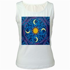 Sun Moon Star Space Purple Pink Blue Yellow Wave Women s White Tank Top
