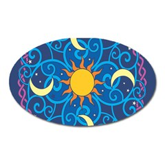 Sun Moon Star Space Purple Pink Blue Yellow Wave Oval Magnet