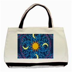 Sun Moon Star Space Purple Pink Blue Yellow Wave Basic Tote Bag