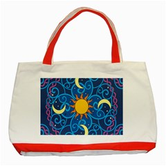 Sun Moon Star Space Purple Pink Blue Yellow Wave Classic Tote Bag (Red)