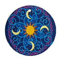 Sun Moon Star Space Purple Pink Blue Yellow Wave Round Ornament (Two Sides)