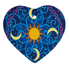 Sun Moon Star Space Purple Pink Blue Yellow Wave Heart Ornament (Two Sides)