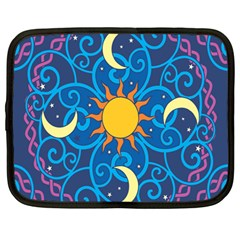 Sun Moon Star Space Purple Pink Blue Yellow Wave Netbook Case (large)