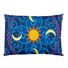 Sun Moon Star Space Purple Pink Blue Yellow Wave Pillow Case
