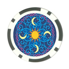 Sun Moon Star Space Purple Pink Blue Yellow Wave Poker Chip Card Guard (10 pack)