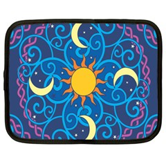 Sun Moon Star Space Purple Pink Blue Yellow Wave Netbook Case (XXL)