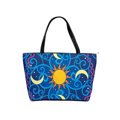 Sun Moon Star Space Purple Pink Blue Yellow Wave Shoulder Handbags