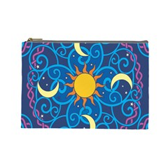 Sun Moon Star Space Purple Pink Blue Yellow Wave Cosmetic Bag (Large)