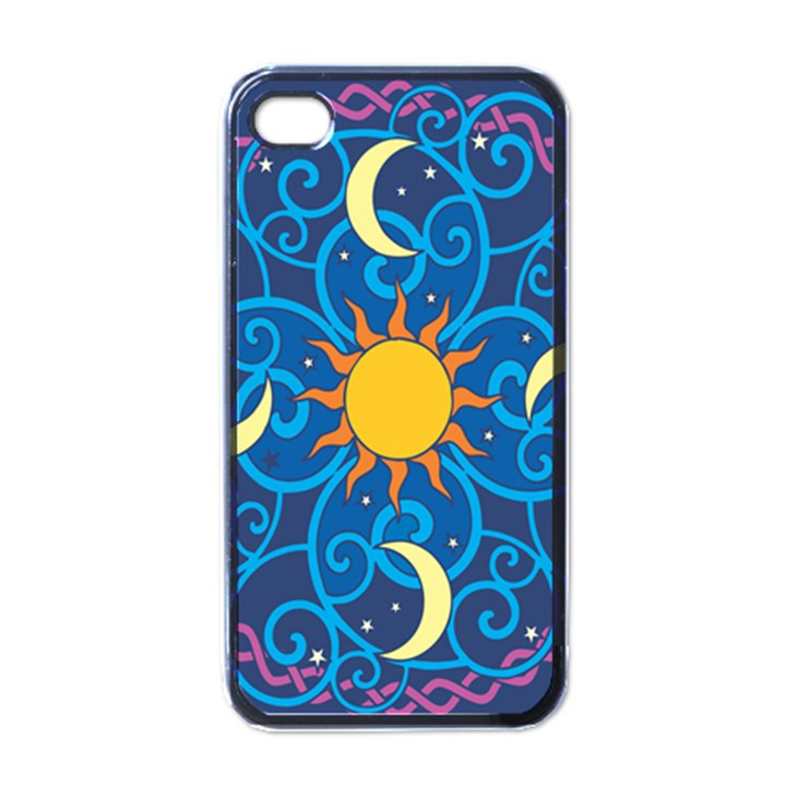 Sun Moon Star Space Purple Pink Blue Yellow Wave Apple iPhone 4 Case (Black)