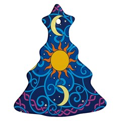 Sun Moon Star Space Purple Pink Blue Yellow Wave Christmas Tree Ornament (Two Sides)