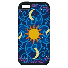 Sun Moon Star Space Purple Pink Blue Yellow Wave Apple iPhone 5 Hardshell Case (PC+Silicone)