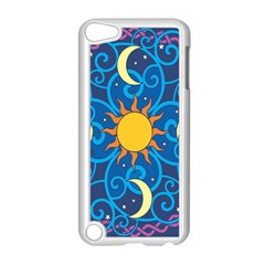 Sun Moon Star Space Purple Pink Blue Yellow Wave Apple iPod Touch 5 Case (White)