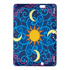 Sun Moon Star Space Purple Pink Blue Yellow Wave Kindle Fire HDX 8.9  Hardshell Case