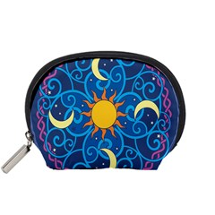Sun Moon Star Space Purple Pink Blue Yellow Wave Accessory Pouches (Small)