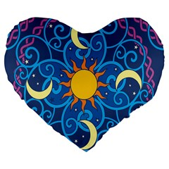 Sun Moon Star Space Purple Pink Blue Yellow Wave Large 19  Premium Flano Heart Shape Cushions