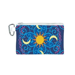 Sun Moon Star Space Purple Pink Blue Yellow Wave Canvas Cosmetic Bag (S)