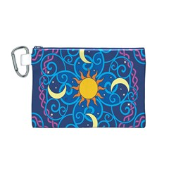 Sun Moon Star Space Purple Pink Blue Yellow Wave Canvas Cosmetic Bag (M)