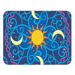 Sun Moon Star Space Purple Pink Blue Yellow Wave Double Sided Flano Blanket (Large)