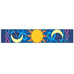 Sun Moon Star Space Purple Pink Blue Yellow Wave Flano Scarf (Large)