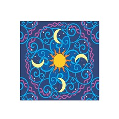 Sun Moon Star Space Purple Pink Blue Yellow Wave Satin Bandana Scarf