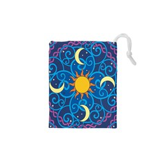 Sun Moon Star Space Purple Pink Blue Yellow Wave Drawstring Pouches (XS)