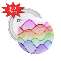 Twizzling Brain Waves Neon Wave Rainbow Color Pink Red Yellow Green Purple Blue 2.25  Buttons (100 pack)
