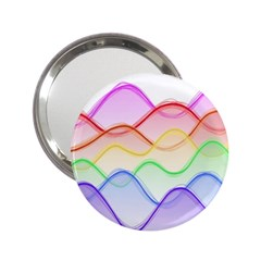 Twizzling Brain Waves Neon Wave Rainbow Color Pink Red Yellow Green Purple Blue 2 25  Handbag Mirrors