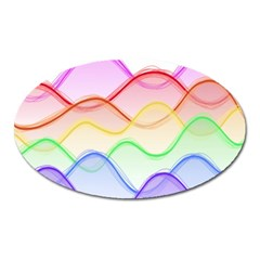Twizzling Brain Waves Neon Wave Rainbow Color Pink Red Yellow Green Purple Blue Oval Magnet