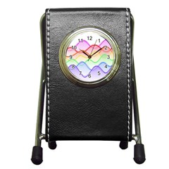 Twizzling Brain Waves Neon Wave Rainbow Color Pink Red Yellow Green Purple Blue Pen Holder Desk Clocks