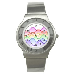 Twizzling Brain Waves Neon Wave Rainbow Color Pink Red Yellow Green Purple Blue Stainless Steel Watch