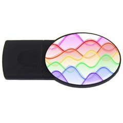 Twizzling Brain Waves Neon Wave Rainbow Color Pink Red Yellow Green Purple Blue USB Flash Drive Oval (4 GB)