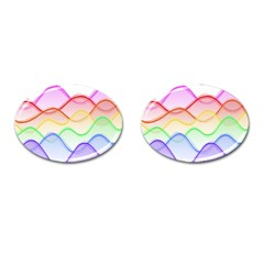 Twizzling Brain Waves Neon Wave Rainbow Color Pink Red Yellow Green Purple Blue Cufflinks (Oval)