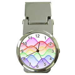 Twizzling Brain Waves Neon Wave Rainbow Color Pink Red Yellow Green Purple Blue Money Clip Watches