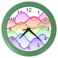 Twizzling Brain Waves Neon Wave Rainbow Color Pink Red Yellow Green Purple Blue Color Wall Clocks