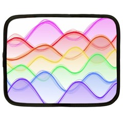 Twizzling Brain Waves Neon Wave Rainbow Color Pink Red Yellow Green Purple Blue Netbook Case (XXL)