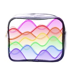 Twizzling Brain Waves Neon Wave Rainbow Color Pink Red Yellow Green Purple Blue Mini Toiletries Bags