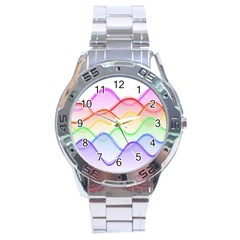 Twizzling Brain Waves Neon Wave Rainbow Color Pink Red Yellow Green Purple Blue Stainless Steel Analogue Watch