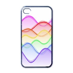 Twizzling Brain Waves Neon Wave Rainbow Color Pink Red Yellow Green Purple Blue Apple iPhone 4 Case (Black)